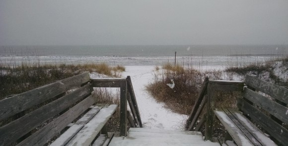 Snow covered benches and beaches in Emerald Isle, NC